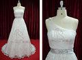 Sexy pura un hombro de piso- longitud de color gris banda de la boda vestido de encaje de alta calidad de diamante de cristal de decoración de la boda