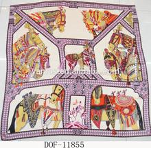Fashion new print horse twill 100%silk square shawl with hand roll edge