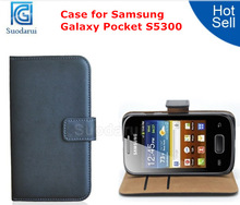 High Quality Leather Wallet Stand Case For Samsung Galaxy Pocket s5300 Cover
