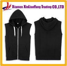wholesale plain black hoodie black mens sleeveless hoody