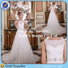 2014 Elegant sweetheart neckline french lace sleeveless beaded belt guangzhou wedding dress street