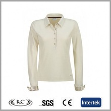 hotsale europe popular ivory polyester long sleeve cotton tees for women