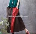 تصميم الرجعية الصيف خمر زائد الحجم مطوي تنحنح خياطة طويلة السيدات القطن التنانير وقمم