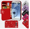 Bling Diamond Book Wallet Flip PU Leather Phone Case Cover For Samsung Galaxy S3 S4 S5--Laudtec
