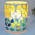 100% el yapımı mozaik cam ve kabuk mumluk
