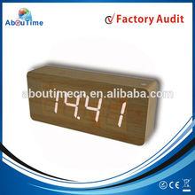 FM radio wooden LED digital clock with sound control