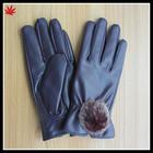 ladies cheap fashion PU glove with fur ball