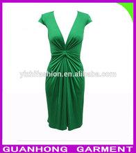 Ladies green silk jersey dress fashion dongguan China 2014