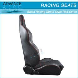 FOR ACURA INTEGRA TL RSX STITCH BLACK PVC LEATHER CAR SEATS BUCKET ADJUSTABLE SLIDER (PAIR)