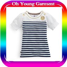 Custom Top Fashion Girl T Shirt Short Sleeve Blue And White Stripes Baby Girls T Shirt Girls 100 Cotton T Shirt