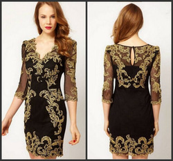 New Arrival Elegant V-Neck Gold Appliques Black Satin Three Quarter Sleeve Short Prom Dress