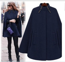 Fashion Womens Black Batwing Cape Wool Poncho cashmere Round neckline Jacket Winter Warm Cloak Coat