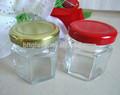 1 oz mini miele vaso di vetro esagono forma con coperchio torsione