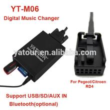 Yatour digital music changer YT-M06 for Peugeot/Citroen RD4>Vcarlink USB/SD/AUX/Bluetooth car kit
