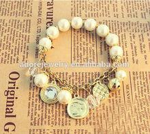 Top sale mesh design gold plated pearl bracelets