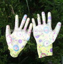 13G nylon High Quality Flower Nylon Nitrile Garden Glove