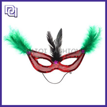 2014 New Product Halloween Mask,Mysterious Prince Mask For Halloween Party,Eye Mask With Green Feather