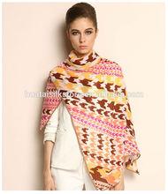 100% Wool Hand Printed Fleece Scarf