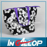 portable woven flower school kids cooler lunch bag