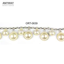 Round tassel pearl beaded trim for wedding dress