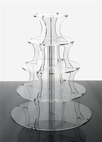 Clear Acrylic Mirror Circle 5 Tiers Cupcake Holder