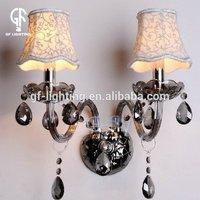 Designer high bright 350x450mm L2 chrome+Smoky gray half moon crystal wall light
