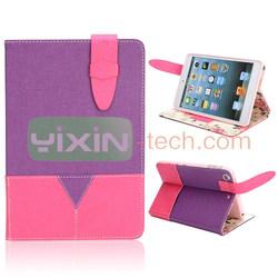 For iPad Mini 2 leather case, for ipad mini retina wallet case, stand case for ipad mini