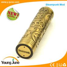 Hot!!! Tesla steampunk mod best mech e-cigarette vapor mod with copper pins and 18650 battery tesla steampunk mod