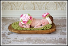Flowers Baby Girl Crocheted Diaper Cover Nappy Cover and Headband Set, Bloomers, for newborn - 3 months baby accessories