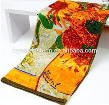 square satin floral silk shawl fabric van gogh