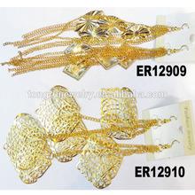 very long gold plated chandelier dangle statement earrings