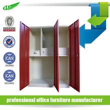With mirror code lock Indian bedroom 3 door steel wardrobe cabinet