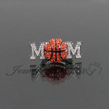 """BASKETBALL MOM"" Rhinestone Stretch Ring Sport Ball MOM Ring"