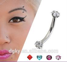 Curves stainless steel Jewelry fake diamond eyebrow piercing