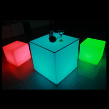 60*60*60cm Rechargeable plastic led round table sale for outside