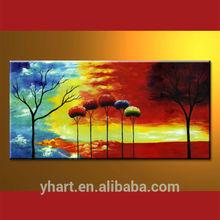 Wholesale Frame Modern Handmade Impressionist Trees Oil Painting