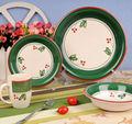 verdes borde pintado a mano navidad de cerámica de la cena set