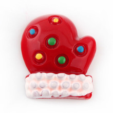 w0429035 27*22mm Christmas Red Glove Resin Cabochons Flatback Kawaii Decorated Cabochon Fit DIY Phone Case