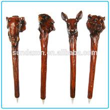 Cheap Wood-like Resin Animals Top Decorative Ballpoint Pen
