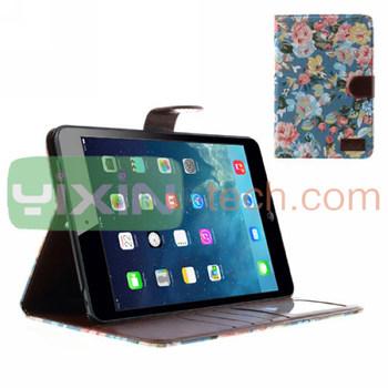 2014 New Design Flower Case For iPad Mini 2 Leather Case