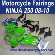 Retail Ninja 250 08 09 10 For Kawasaki ninja 250r body kit Green Silver FFKKA001