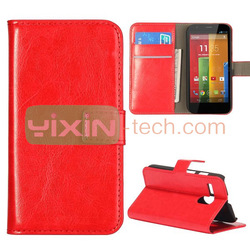 High Quality slot stand leather case for Motorola Moto G