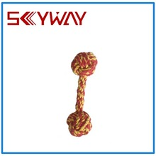 Two knot dog rope toys with ball
