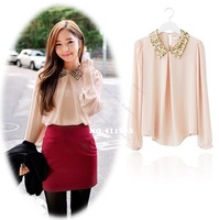 2014 Womens vintage sequins peter pan collar puff sleeve sheer loose tops chiffon style blouse korean clothes