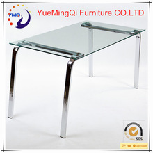 tempered glass modern cheap dining table sets clear glass and metal table