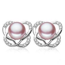 2014 fashionable Purple Hoop Real Pearl Earrings Stud With Petaling Design