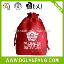 Dual pocket polyester drawstring bag