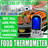 Remote Wireless Food Thermometer Stainless Steel Probe 8 Meat Types