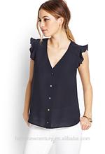 Women Navy Chiffon Shirt Top Blouse Lotus Leaf Sleeve New Fashion Casual European Style 2014