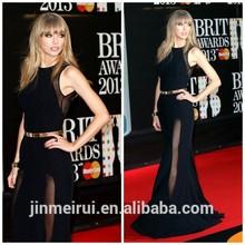 Red Carpet Arrivals Brit Awards Floor Length Chiffon High Neck With Side Silt Gold Belt Celebrity Evening Dresses